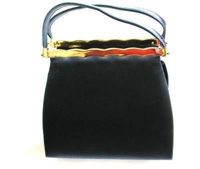 Farfalla designer bag dark navy silky material twin handle chain