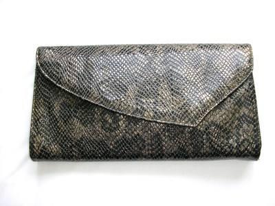 Renata large envelope clutch black gold faux snakeskin vintage