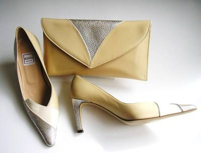 Renat silver cream peach shoes matching clutch siz 3.5 mother br 002