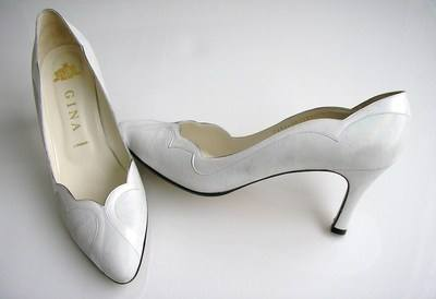 Gina white iris court shoes size 7-7.5 002