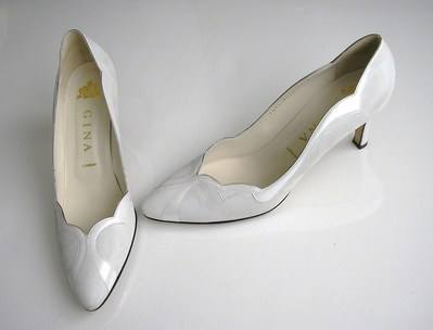 Gina white iris court shoes size 7-7.5 003