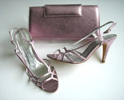 Magrit designer shoes matching bag metallic pink lilac size4