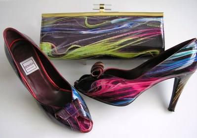 Renata berry muli purple shoes matchig bag size 6 009