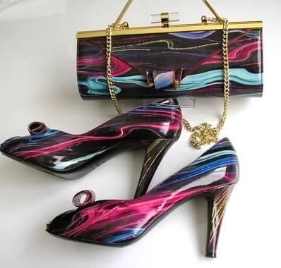 Renata berry muli purple shoes matchig bag size 6 012