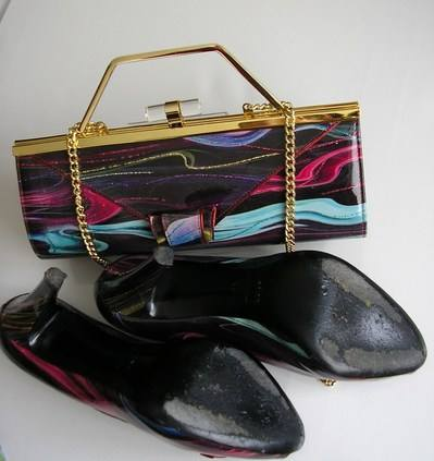 Renata berry muli purple shoes matchig bag size 6 015