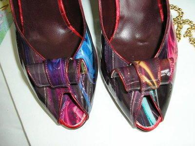Renata berry muli purple shoes matchig bag size 6 016