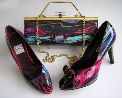Renata berry muli purple shoes matchig bag size 6 011