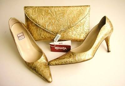 Renata designer shoes matching bag gold mother bride size 3.5 used