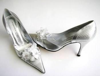 Sabrina Chic Italian designer shoes silver bridal mother bride size4.5