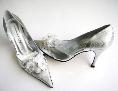 Sabrina Chic Italian designer shoes silver bridal mother bride size4.5