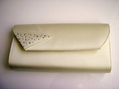 Magrit designer evening bag cream crystals used