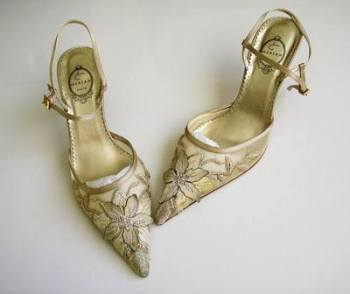 Spanish designer shoes beige gold silver crystals mother bride size 7