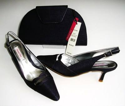Jacques Vert Amethyst mother bride shoes matching clutch.Size 3-3.5