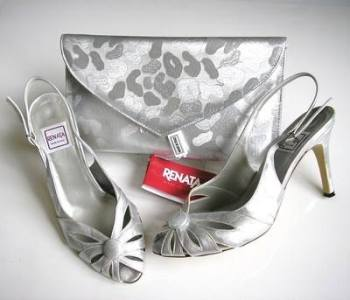 Renata mother bride shoes matching bag metallic silver /grey size 3
