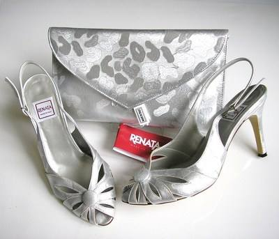 Renata mother bride shoes matching bag metallic silver -grey size 3