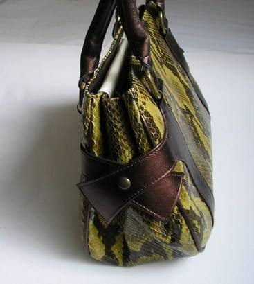 Magrit green and brown snakeskin shoes matching bag 005