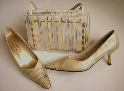 Magrit designer shoes matching bag gold silver size 6 mother bride
