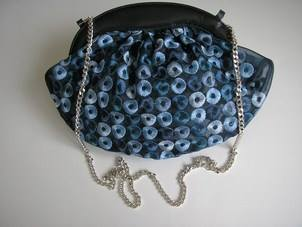Renata navy and cobalt blue flowers shoes matching bag size4.5 004