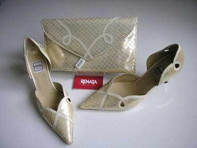 Renata designer shoes matching clutch bag cream pearl size 4.5