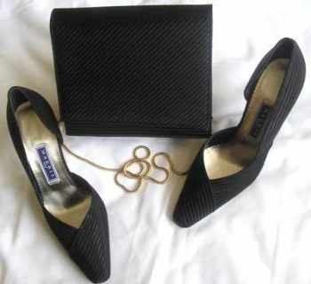 Magrit  black satin evening designer shoes matching bag size 3