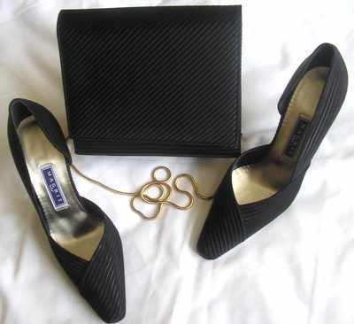 Magrit  black satin,evening designer shoes, matching bag ,size 3