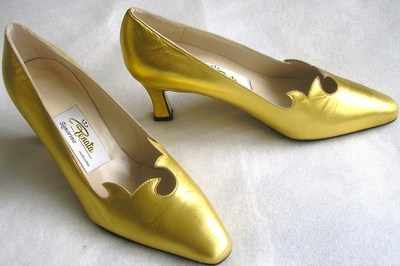 Designer shoes by Renata, gold  leather heels,size 3.5. as new