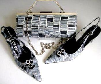 Renata shoes matching bag grey black silver crystals size 6.5