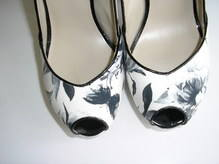 Karen Millen shoes black white peeptoe stilleto size 5 007