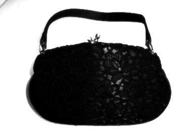 Designer evening bag Waldybag black guipure lace vintage used