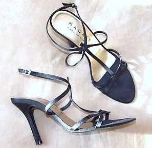 Magrit designer shoes. black strappy evening  sandals size 3.5 .