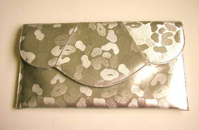 Renata designer large clutch metallic pale beige Brocatto design