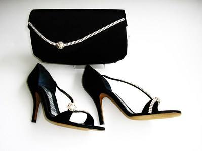 Magrit black crystals size 3 shoes matching bag 009