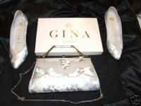 Gina designer shoes size3 matching bag silver damask pre owned