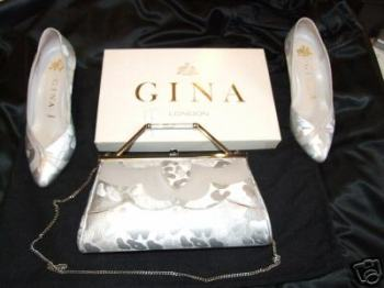 Gina designer shoes size 3.5 matching bag silver damask pre owned