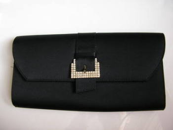 Magrit designer clutch bag black satin crystals