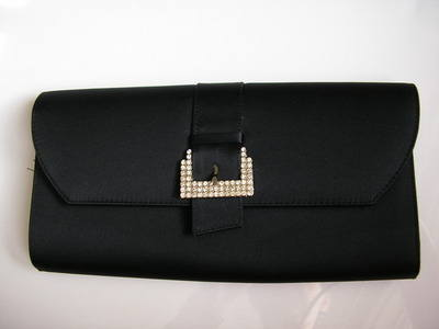 Designer clutch bag Magrit black satin crystals