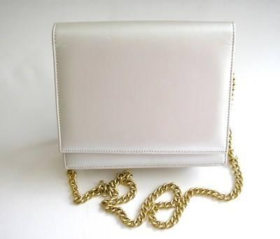 Pearlescent pale silver grey shoulder clutch bag