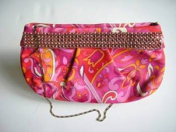 Gina London clutch soft bodied hot pink lilac lime pink crystals