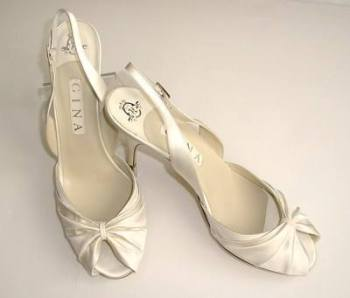 Gina London  bridal cream satin peeptoe shoes size 7-7.5 Lynda