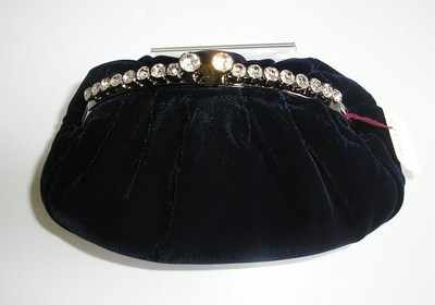 Designer navy velvet evening clutch.crystals feature.Dents