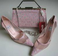 Renata designer shoes matching bag pink silver size 4.5 mother bride