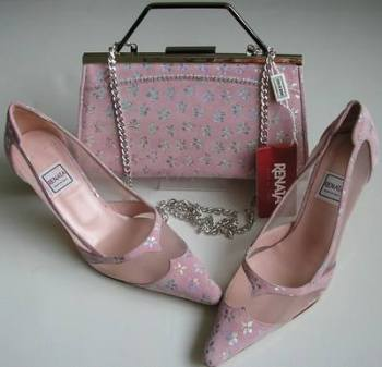 Renata designer shoes matching bag pink silver size 4.5 mother bride