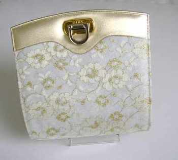 Gina designer bag bridal mother of the bride cream gold.