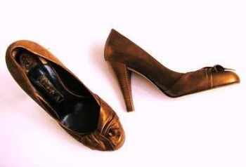 Designer shoes Gina Bronze/copper kid leather size 4.5