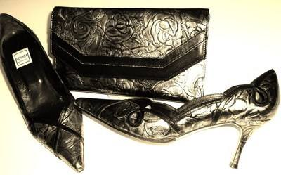 Renata pewter grey black rose design shoes matching clutch size 6