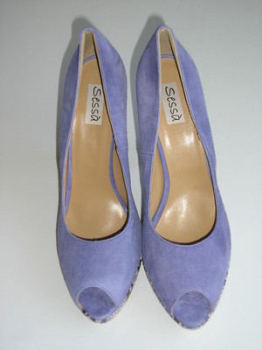 Lilac Sessa  Spain shoes platform peep toe suede 5 inch heel size 6-6.5