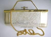 Renata 3 way half barrel shape designer bag gold cream