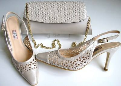 Designer shoes HB Espania pearlized ivory leather matching bag.mother bride
