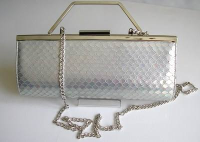 Renata designer 3 way bag silver iridescent  snakeskin pattern