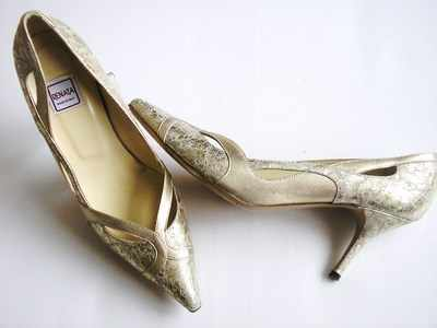 Renata designer shoes gold cream marble effect size 7 to7.5